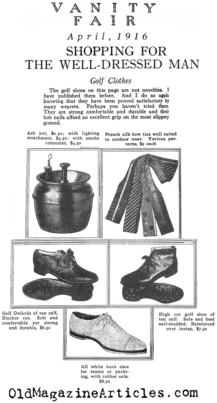 Top-Drawer Golf Accessories  (Vanity Fair Magazine, 1916)