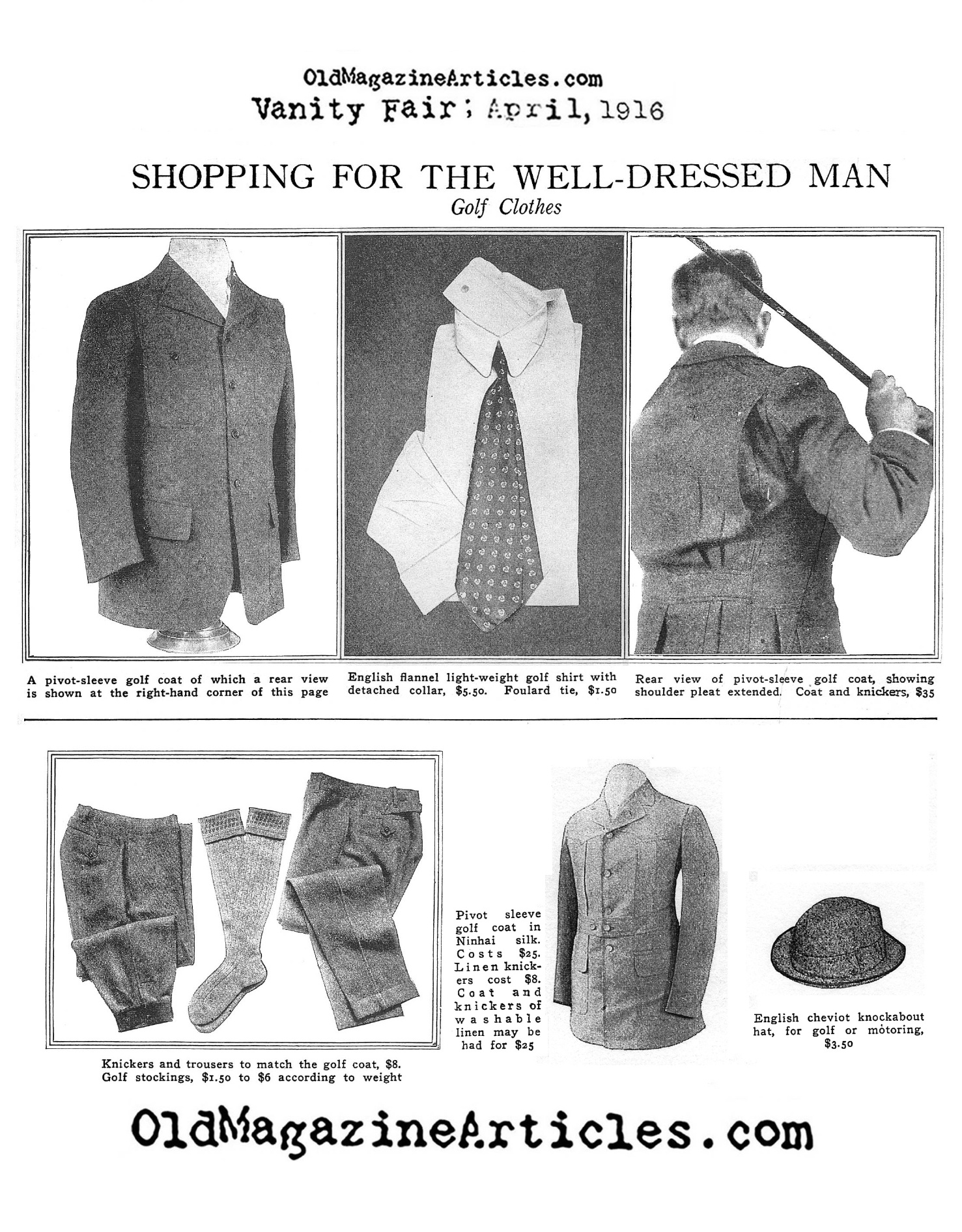 The Action-Back Jacket for the Golfing Man  (Vanity Fair Magazine, 1916)