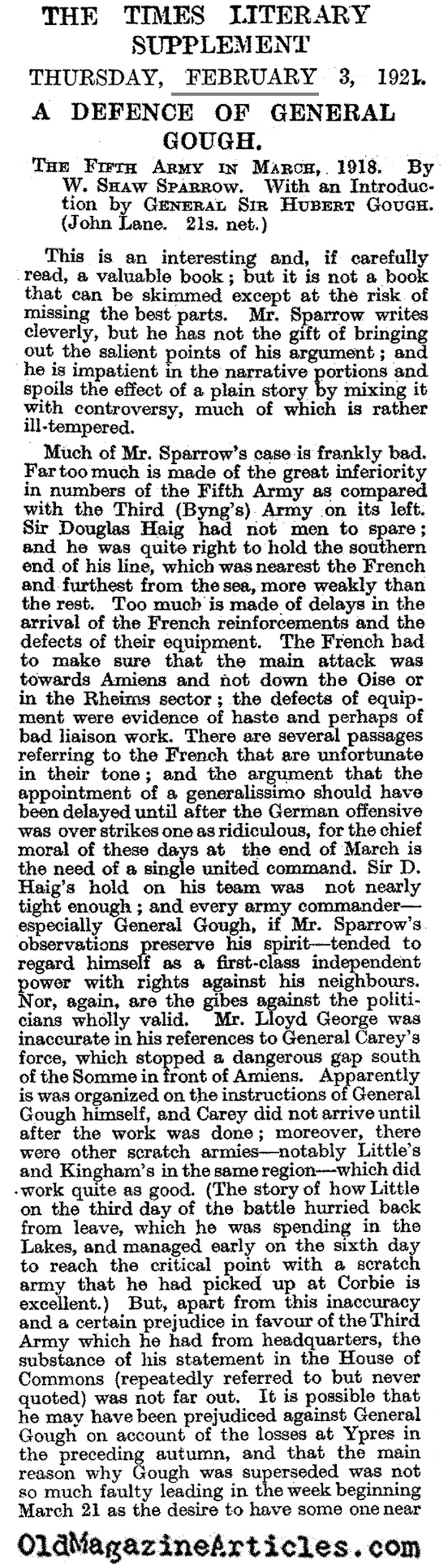 General Herbert Gough and the Collapse of the Fifth Army  (Times Literary Supplement, 1921)