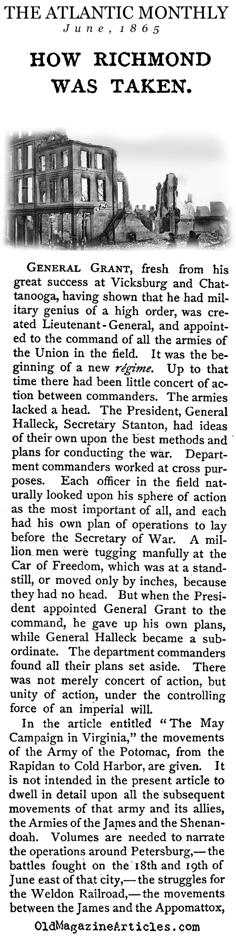 General Grant's March on Richmond (The Atlantic Monthly, 1865)