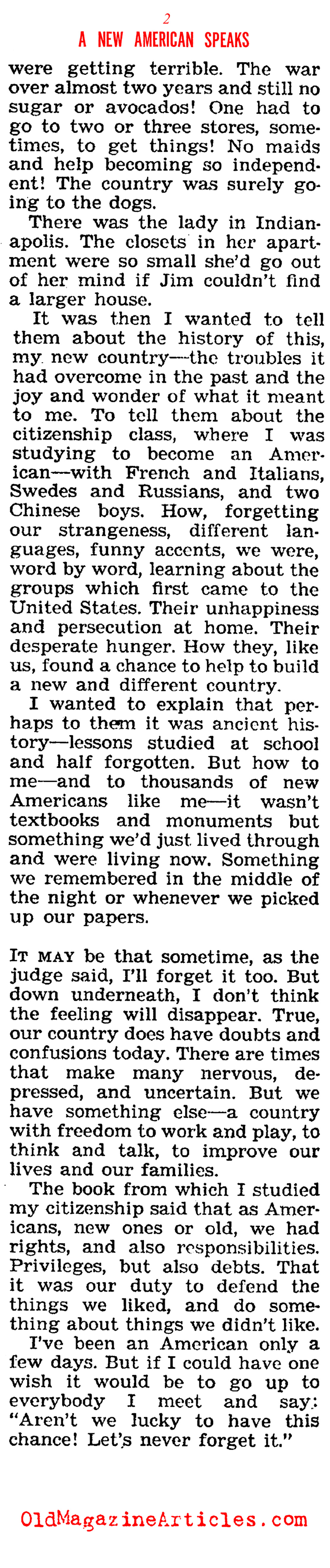 A Grateful Immigrant Speaks ('47 Magazine, 1947)