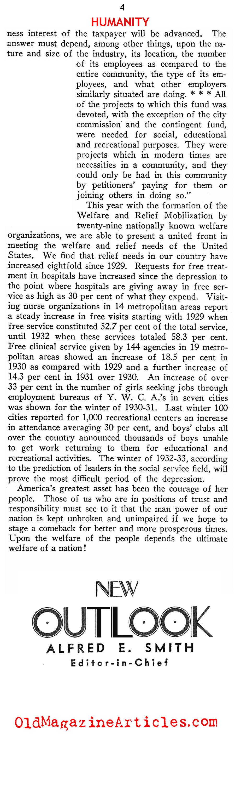 Private Charity During The Great Depression (New Outlook Magazine, 1932)