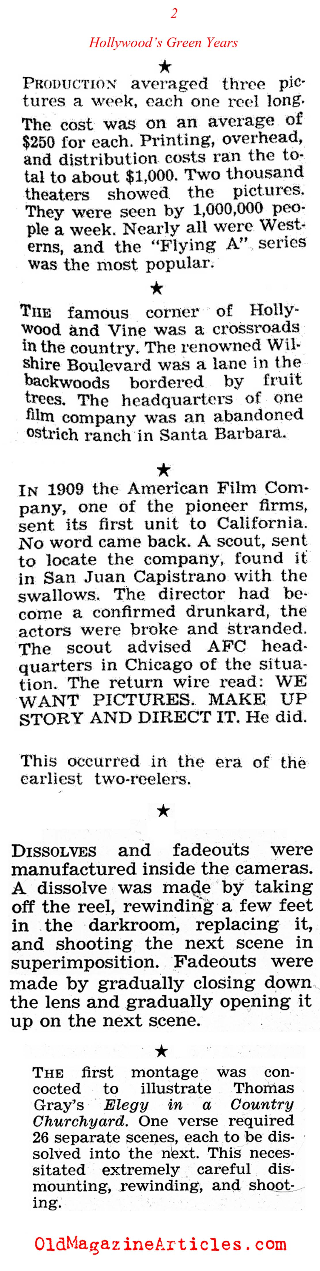 Fast Facts About Hollywood Silent Movies ('47 Magazine, 1947)
