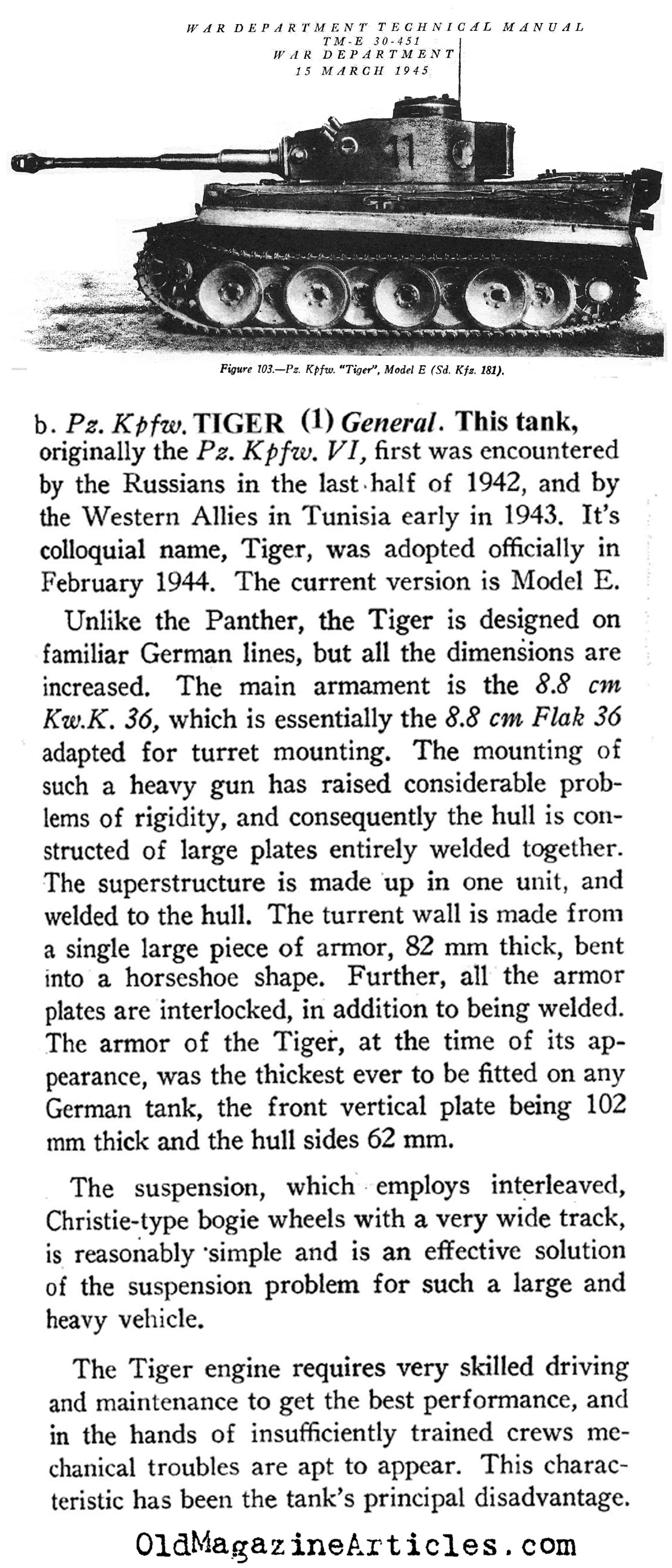 ww article about pz kpfw vi tiger tanks pz kpfw vi tiger pz a study of the german tiger tank the u s war department 1945