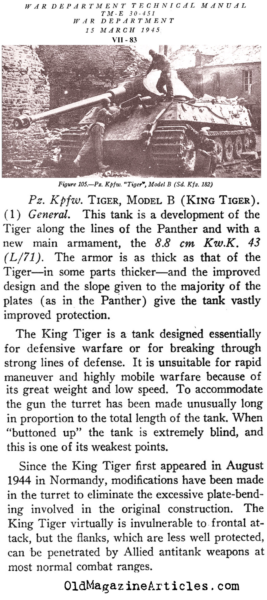 The  King Tiger Tank  (U.S. Dept. of War, 1945)
