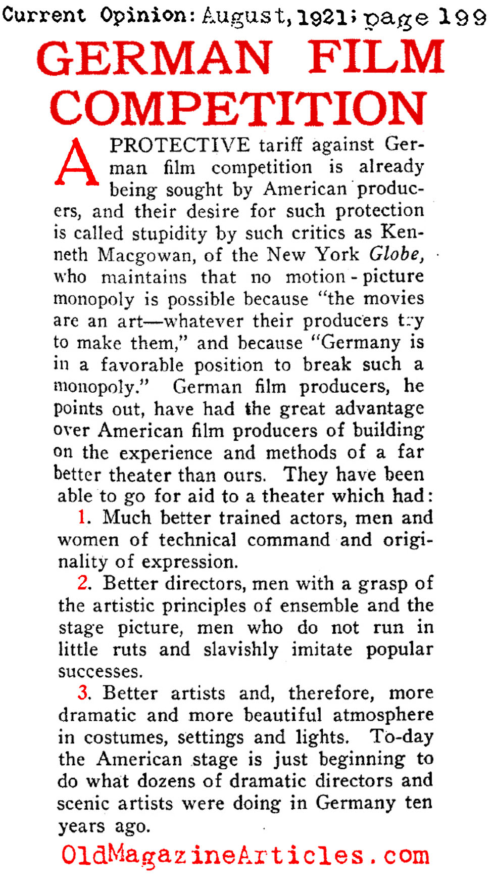 Fearing German Filmmakers  (Current Opinion, 1921)