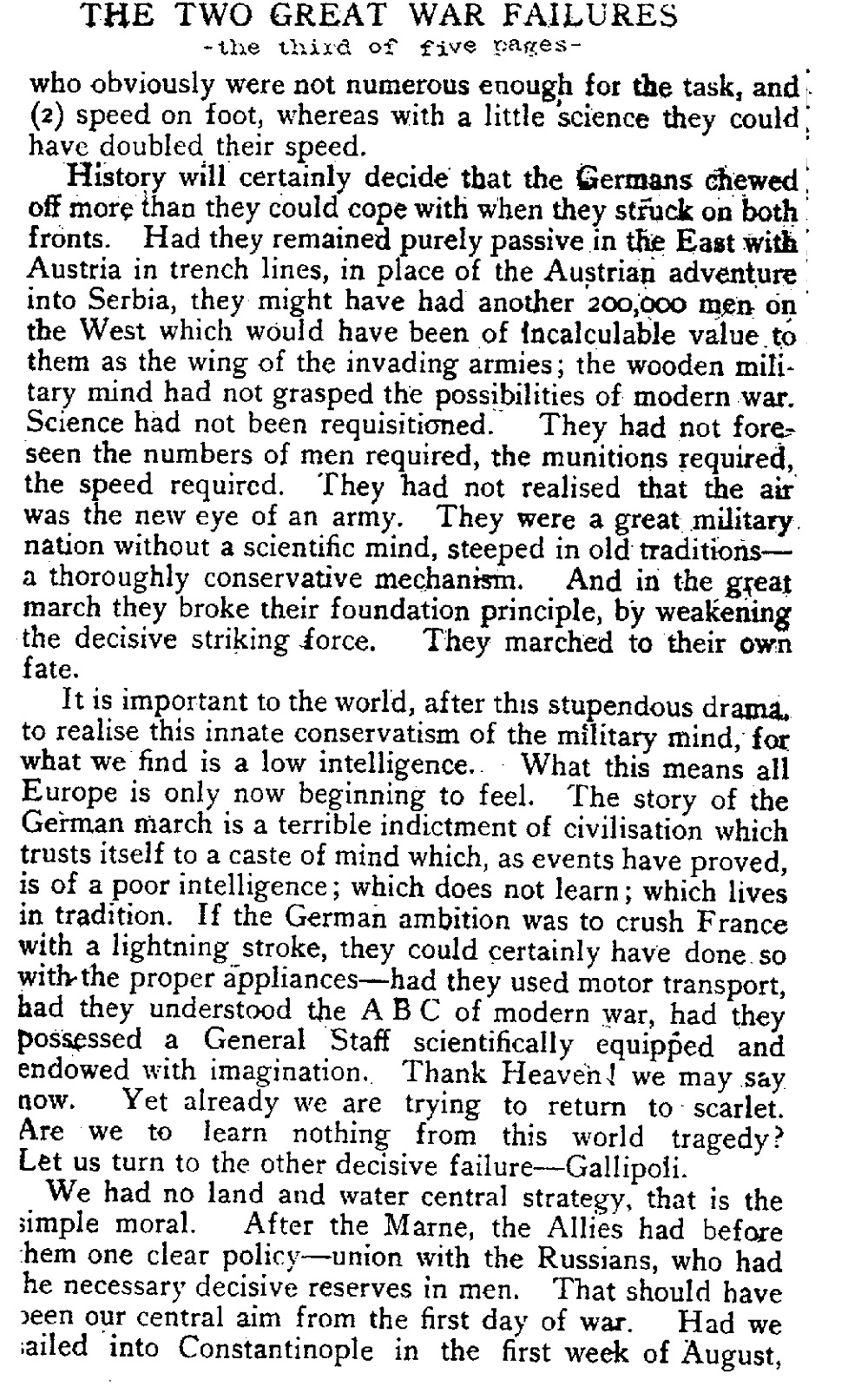 Recalling Two of the War's Blunders (The English Review, 1920)