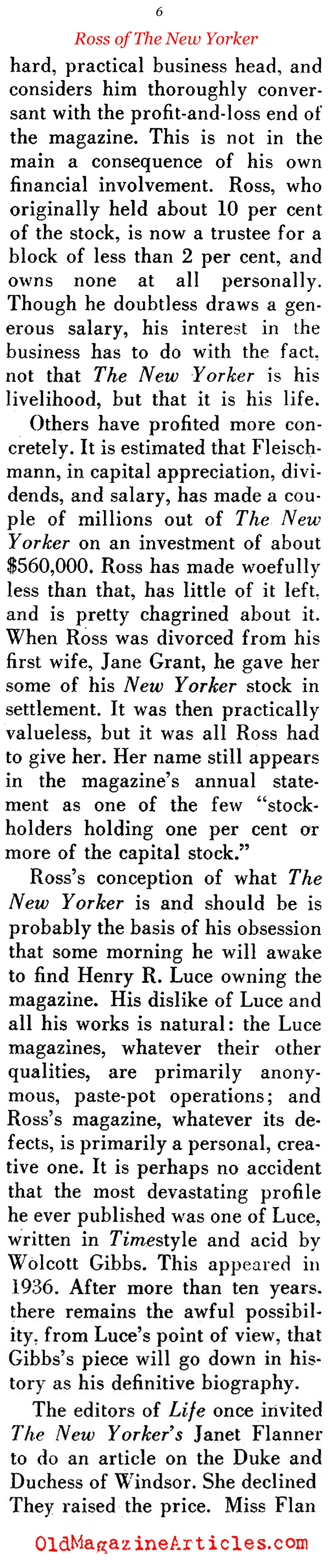 Ross of The New Yorker: Part II ('48 Magazine, 1948)