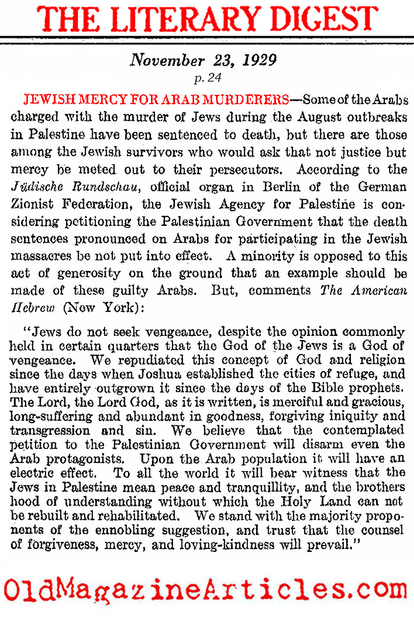 Leniency For The Defendants of the Hebron Massacre (Literary Digest, 1929)