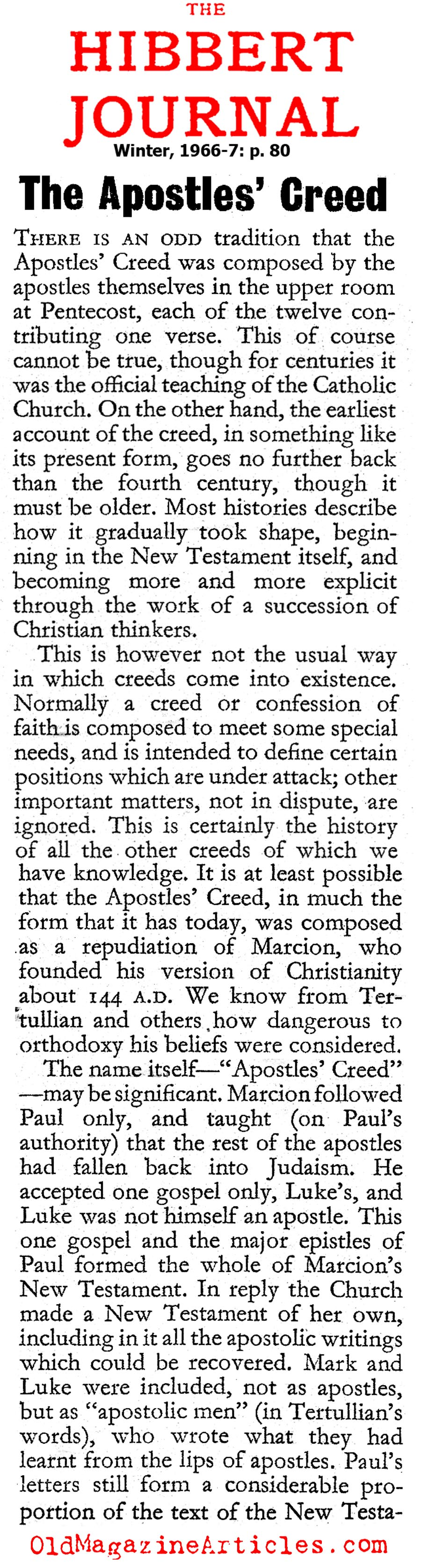 The Apostles' Creed (The Hibbert Journal, 1966)