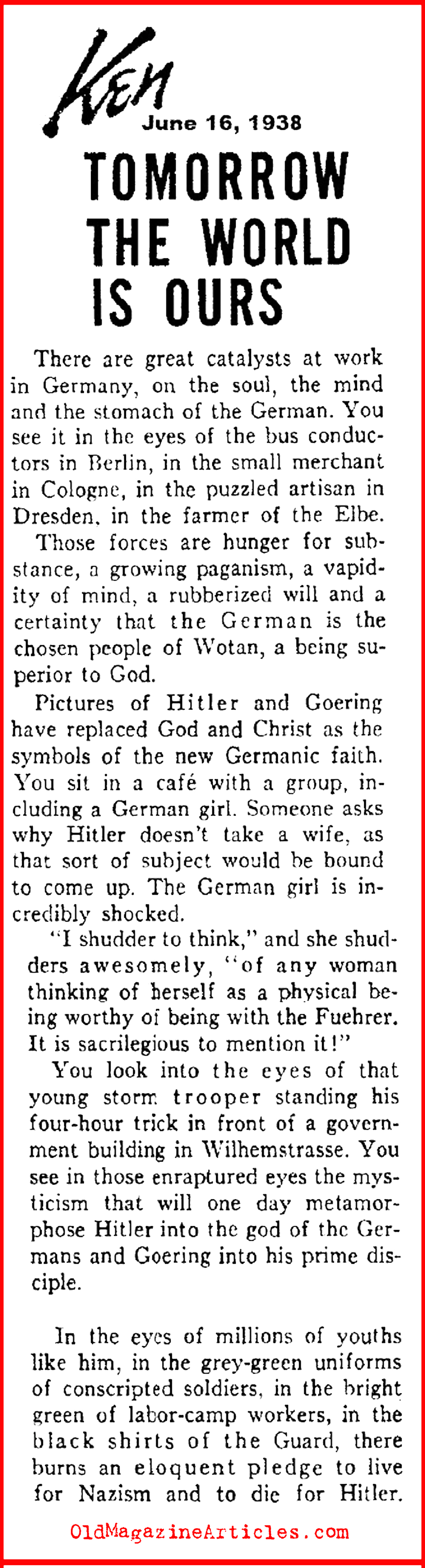 The Cult of the Hitler Personality (Ken Magazine, 1938)