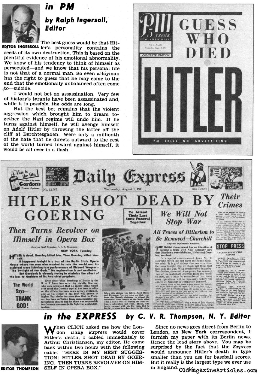 WHAT IF - Hitler Had Been Killed? (Click Magazine, 1941)