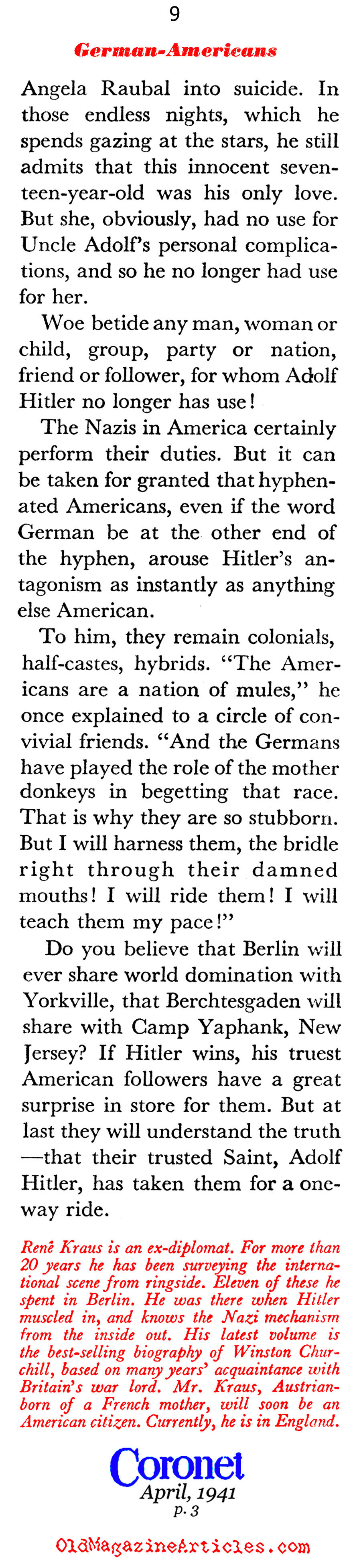 Adolf Hitler and the German-Americans (Coronet Magazine, 1941)