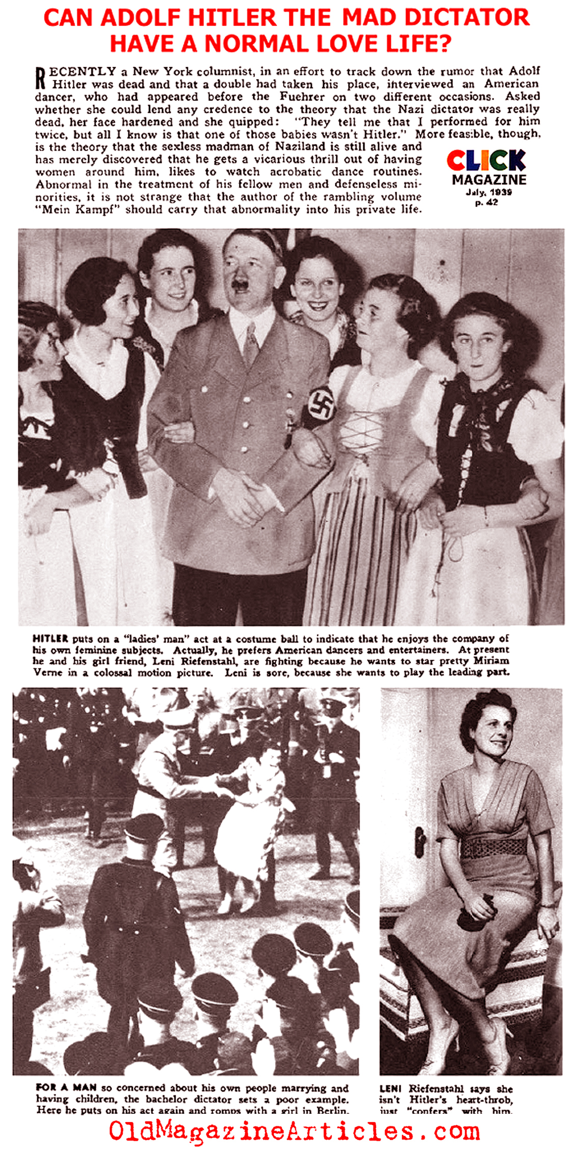 Adolf Hitler and Women  (Click Magazine, 1939)