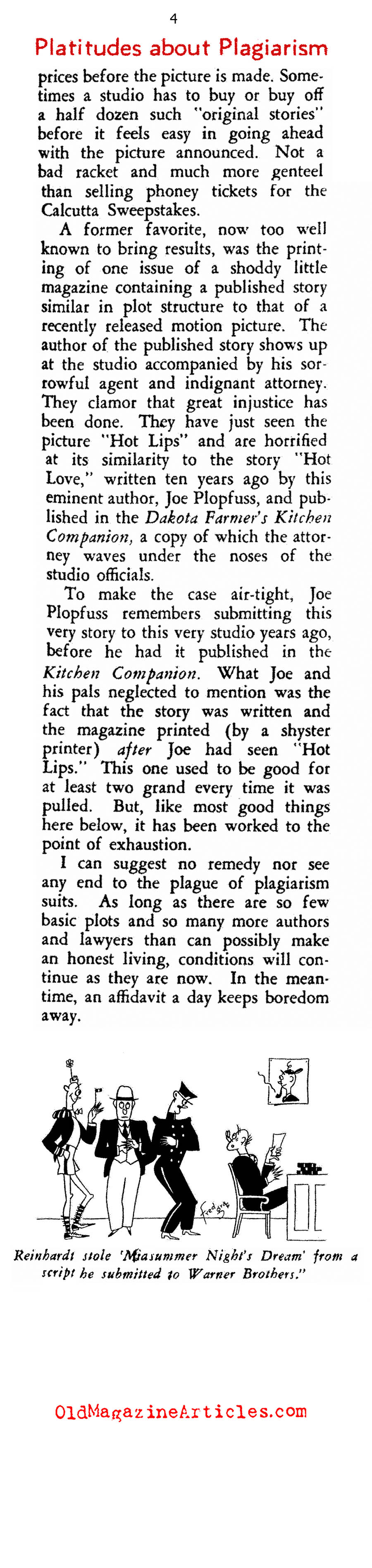 Hollywood and the Game of Bogus Plagiarism Law Suits (Rob Wagner's Script, 1935)