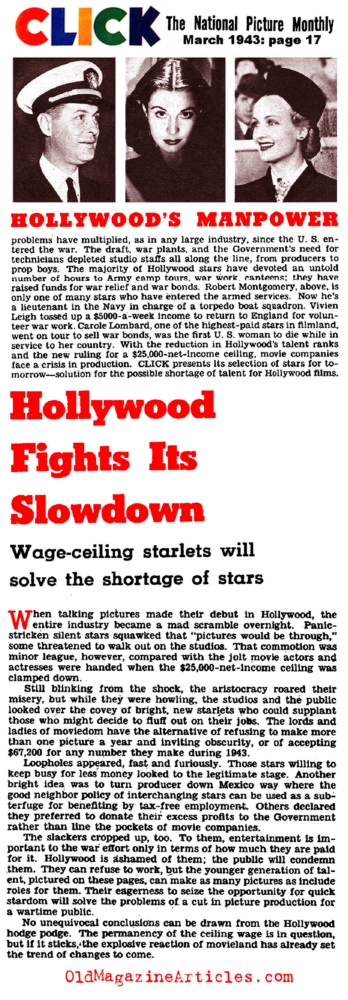 Hollywood Fights Its Slowdown (Click Magazine, 1943)