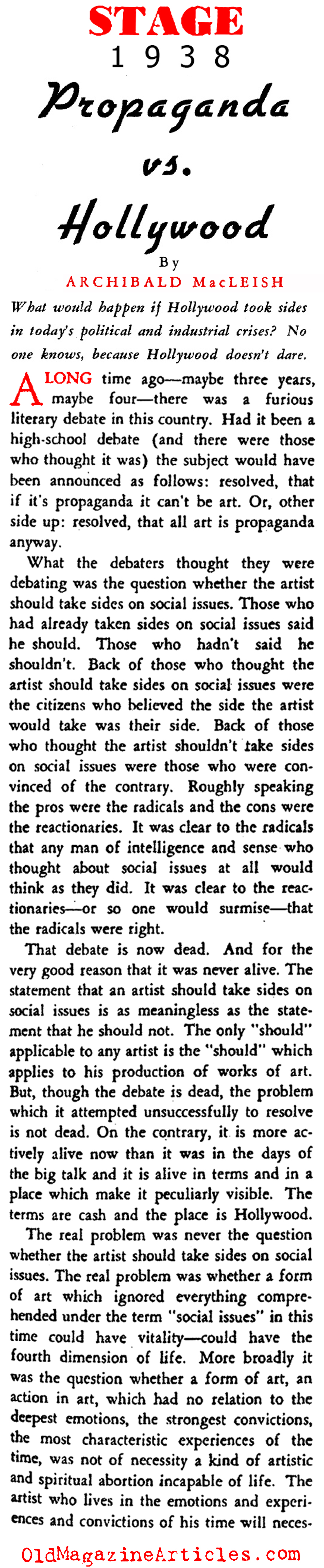 Social Issues in Movies (Stage Magazine, 1938)
