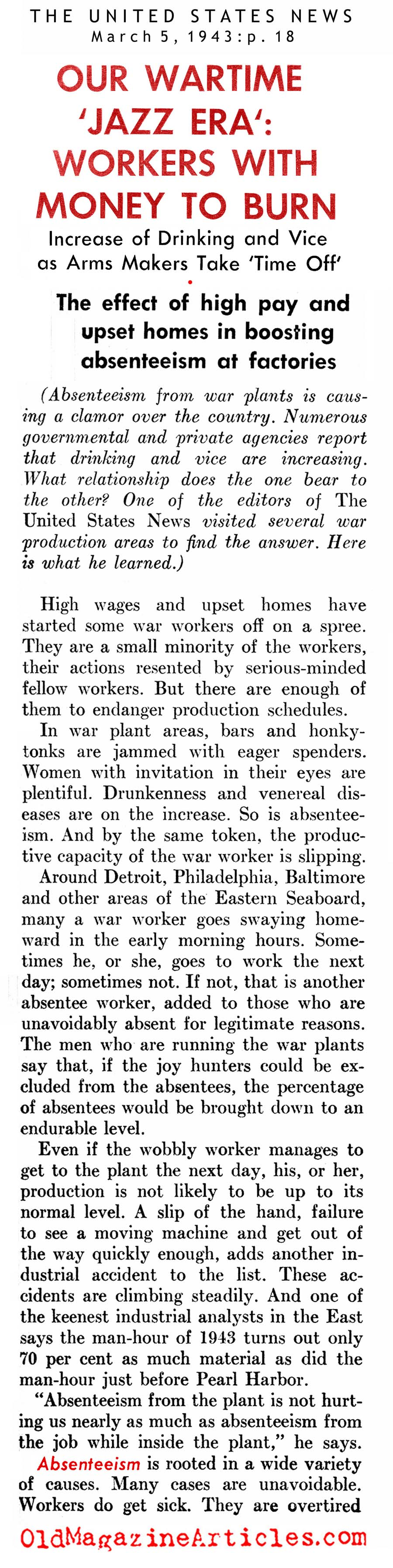Results of the Economic Boom On The Home Front (United States News, 1943)