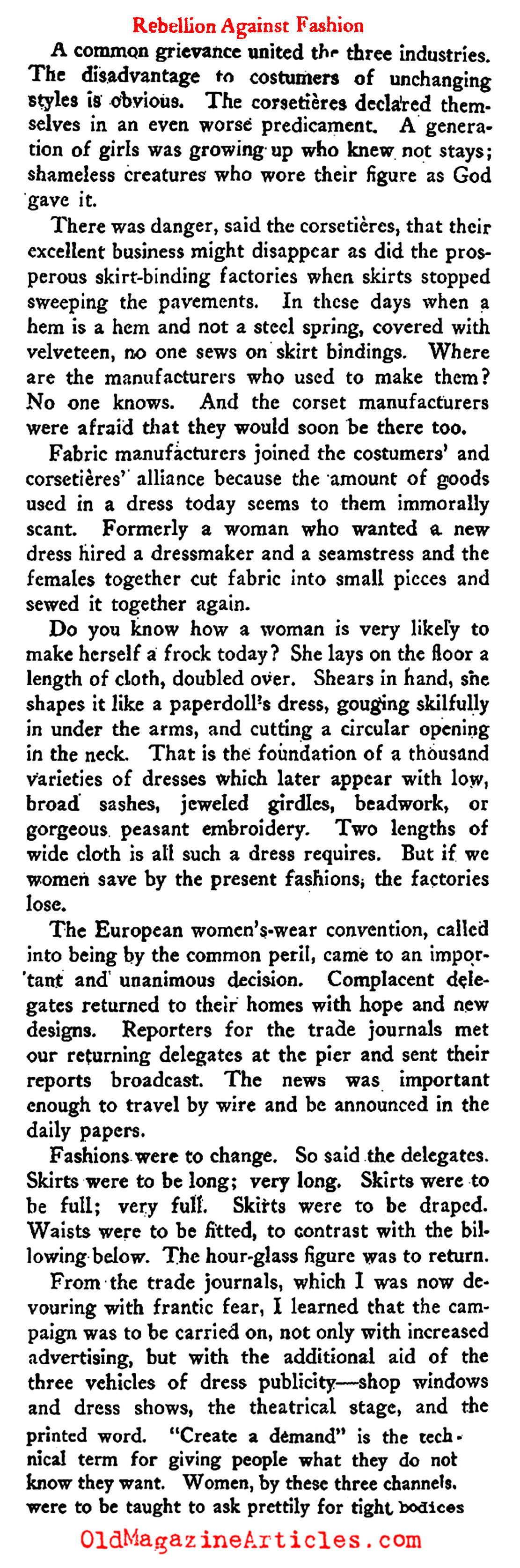 The Plot to Restore the Corset  (The New Republic, 1922)