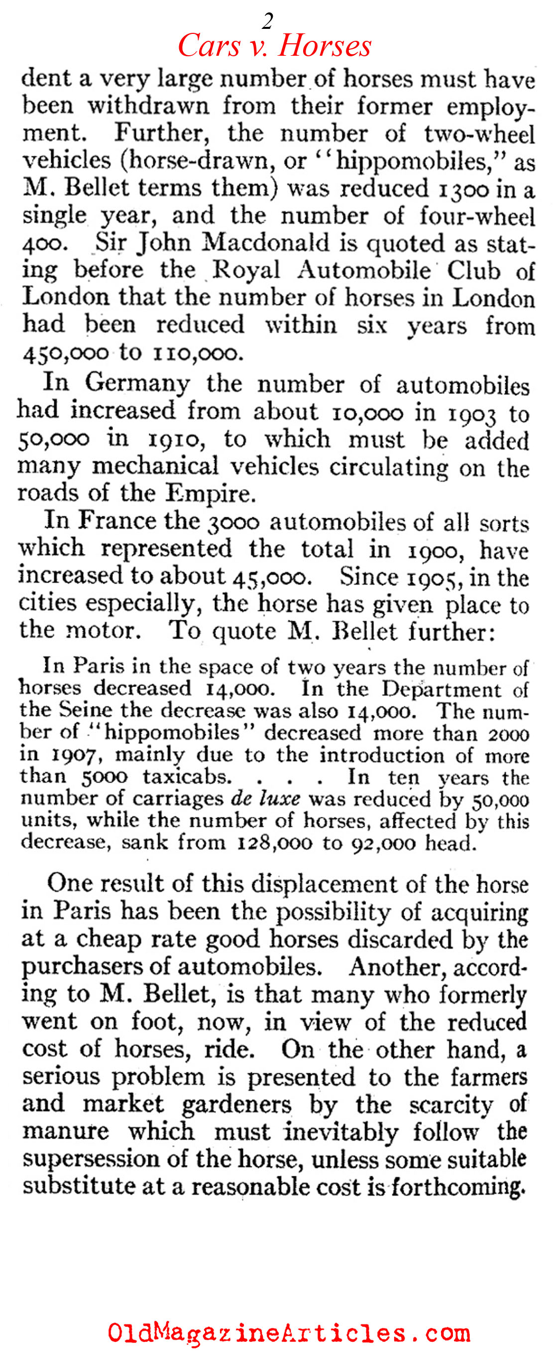 A Dramatic Growth in the Number of Cars (Review of Reviews, 1910)