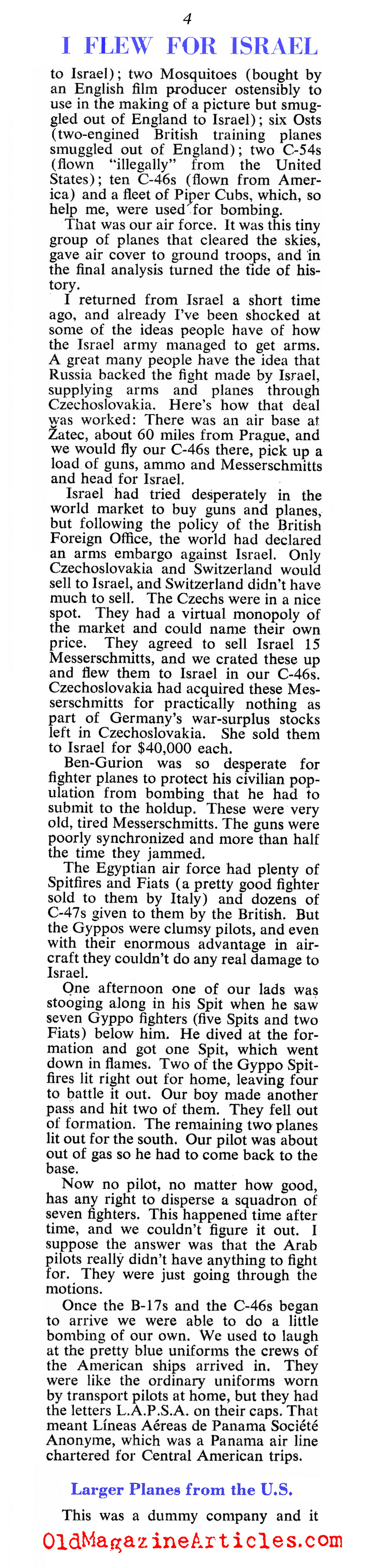 ''I Flew for Israel'' (Collier's Magazine, 1949)