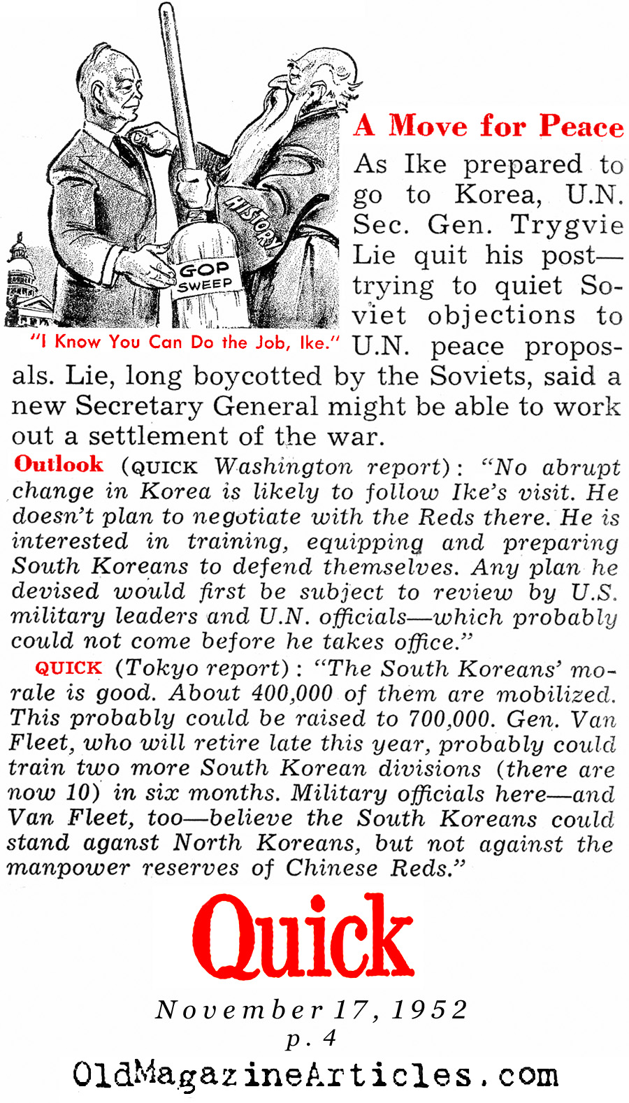 Eisenhower Goes to Korea (Quick Magazine, 1952)