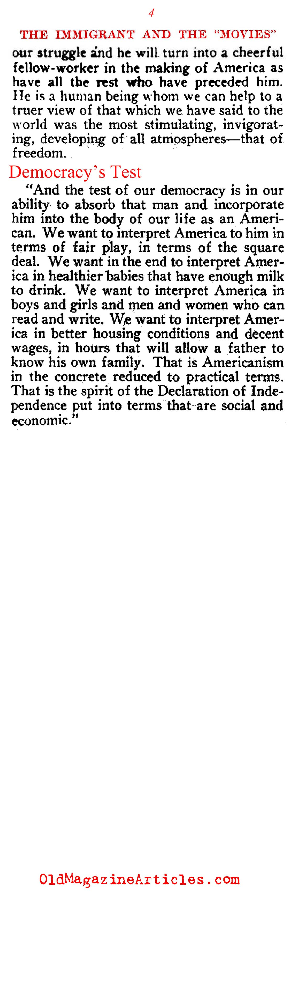 Movies will Promote Americanism (Touchstone Magazine, 1920)