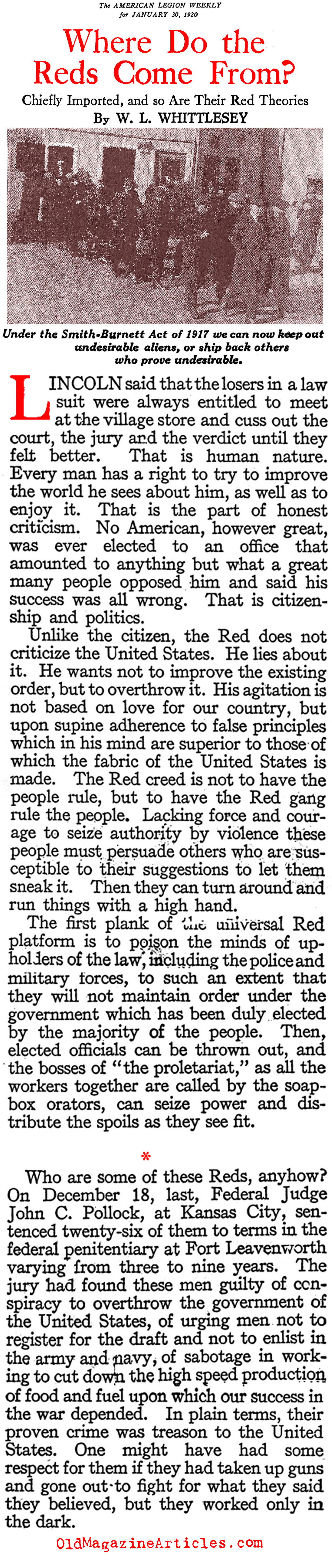 Deporting the Reds (American Legion Weekly, 1920)