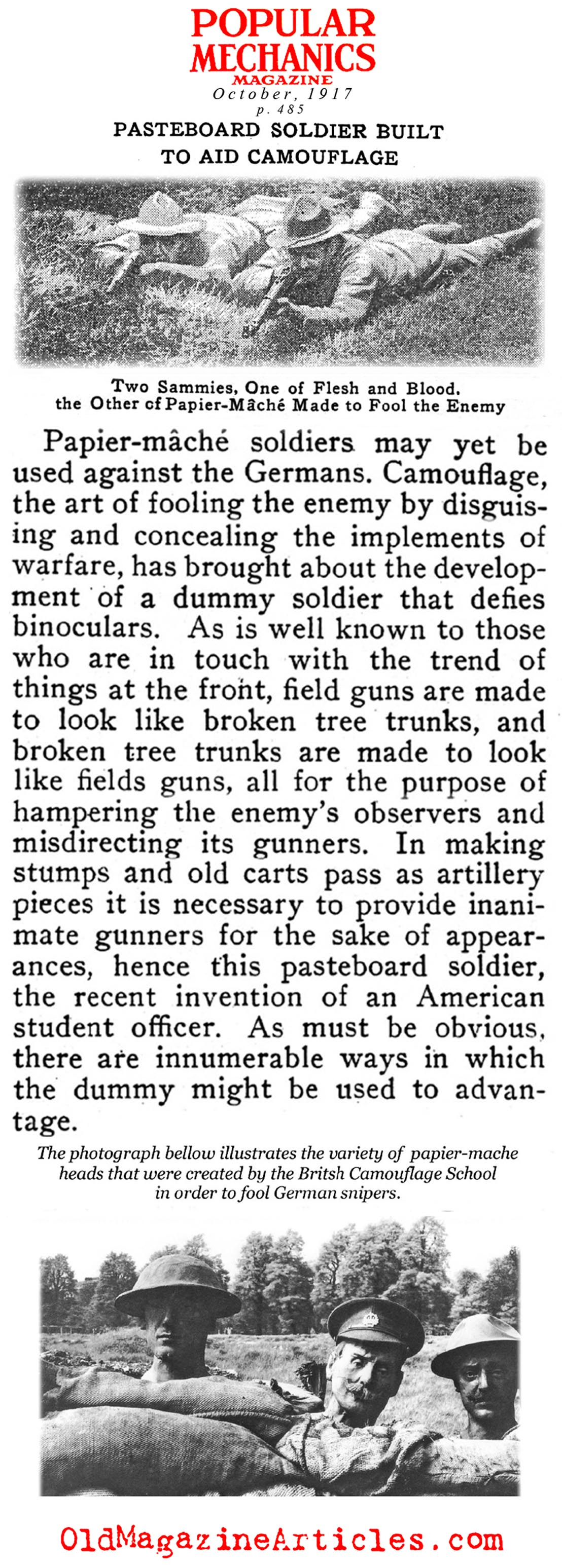Papier-Mache Used to Deceive German Snipers (Popular Mechanics, 1917)
