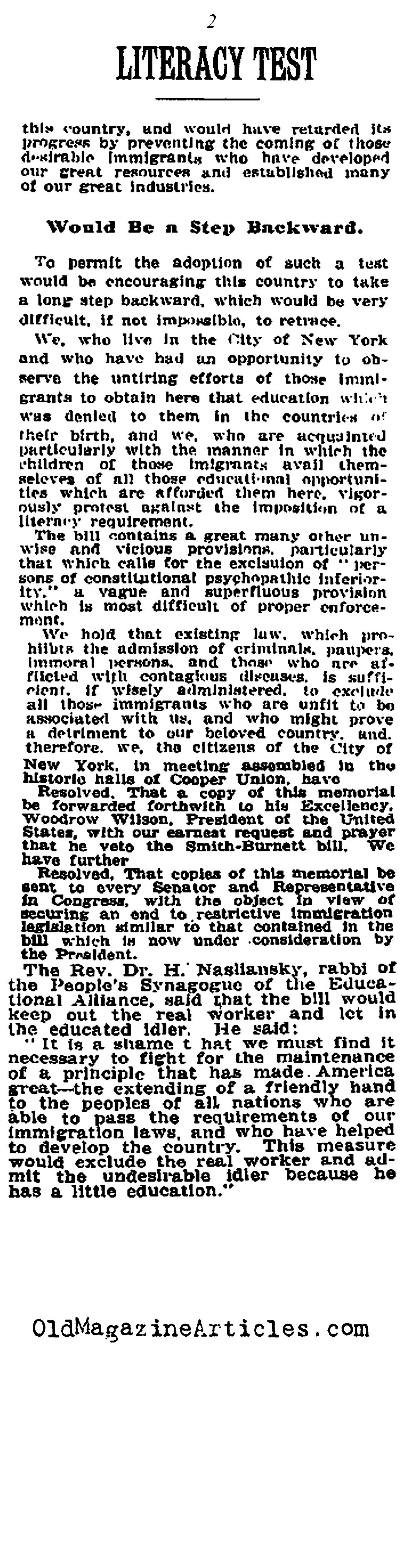 Immigrant Literacy Tests Passed (New York Times, 1915)