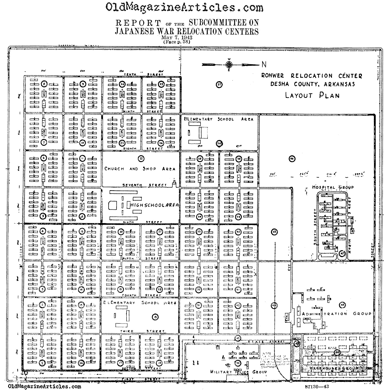 The Lay-Out Plan for the Rohwer Internment Camp (U.S. Gov. 1943)