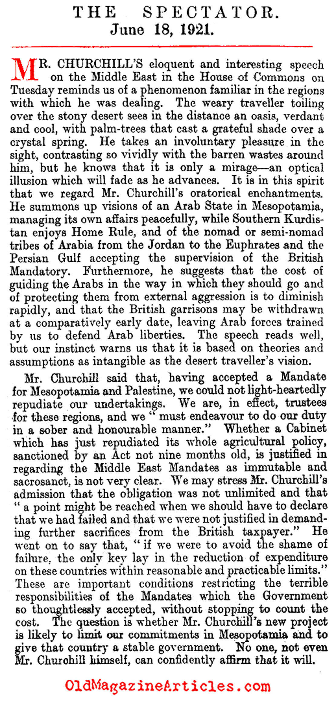 Winston Churchill and the Mesopotamia Occupation   (The Spectator, 1921)