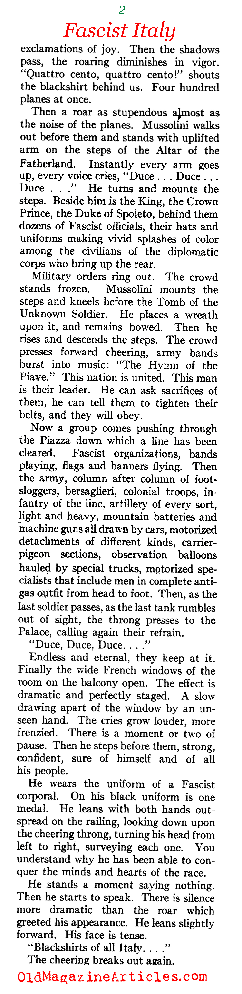 Armistice Day Mussolini Style (American Legion Monthly, 1936)