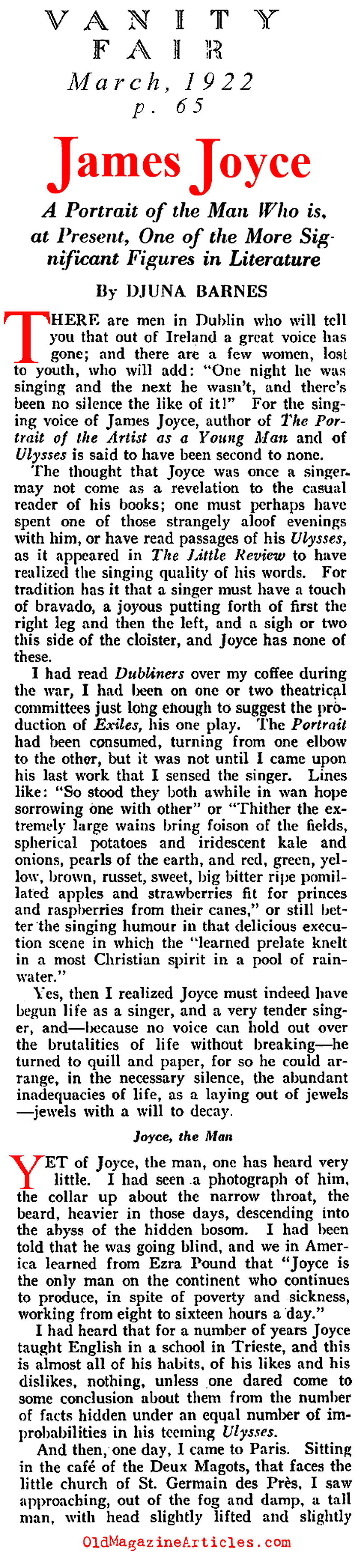 An Interview With James Joyce (Vanity Fair, 1922)