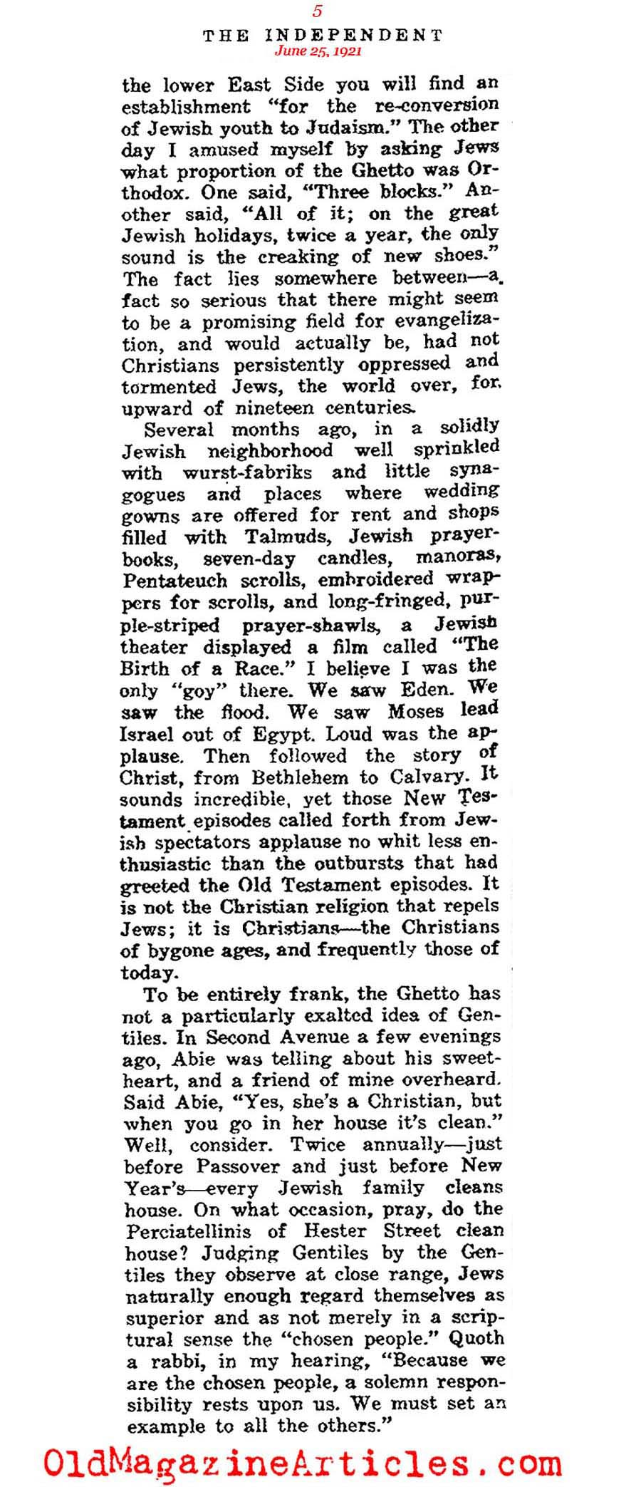 Jewish Population Growth in New York (The Independent, 1921)