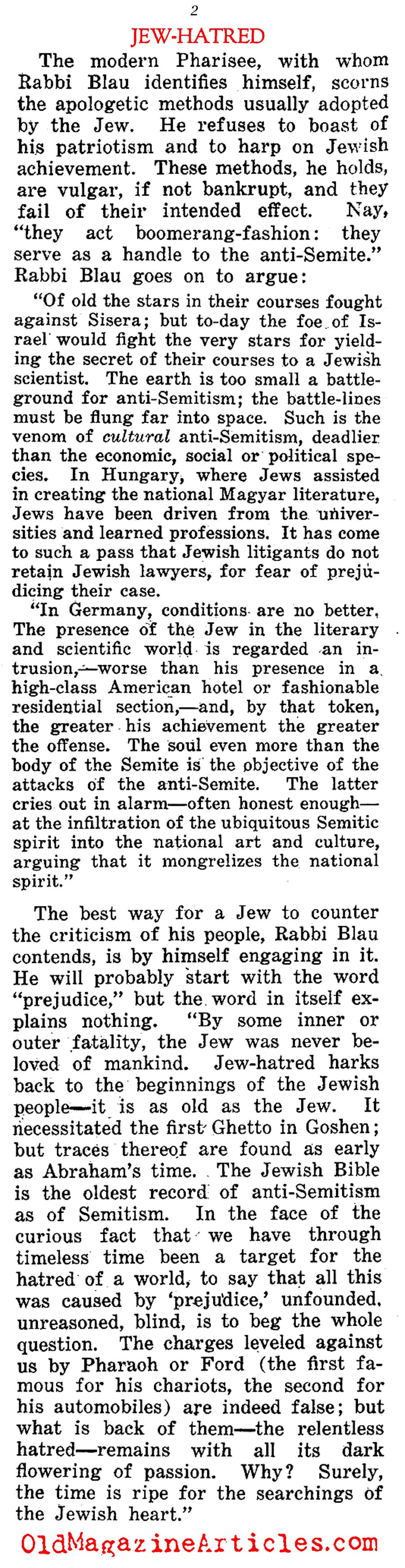 A Zionist Explanation of Jew-Hatred (Current Opinion, 1922)