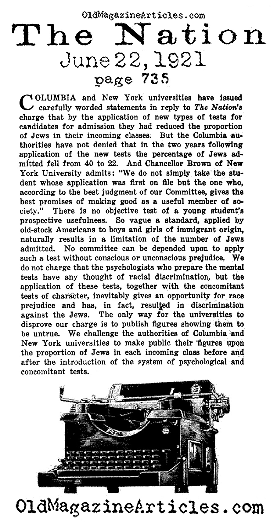 Columbia University and  NYU Charged with Antisemitism (The Nation, 1921)