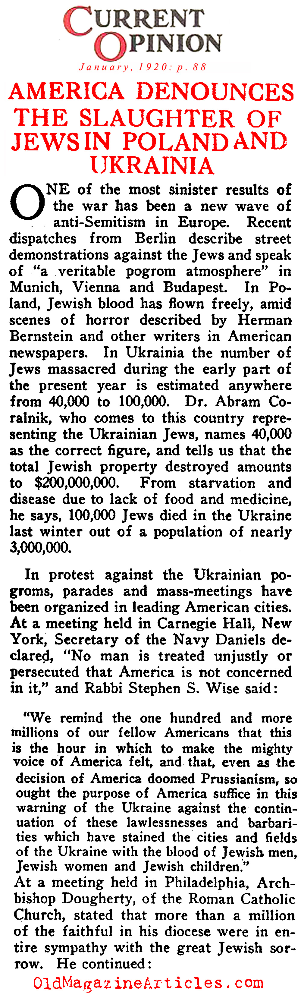 Eastern European Jews Slaughtered (Current Opinion, 1920)