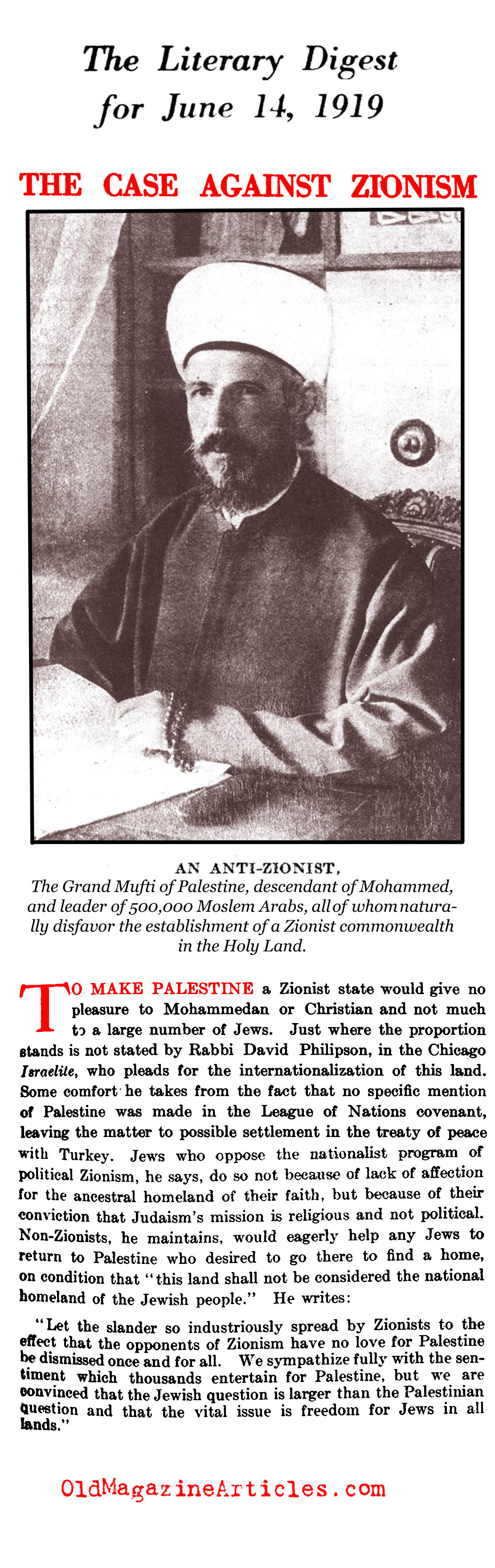 A Case Against the Zionists (Literary Digest, 1919)