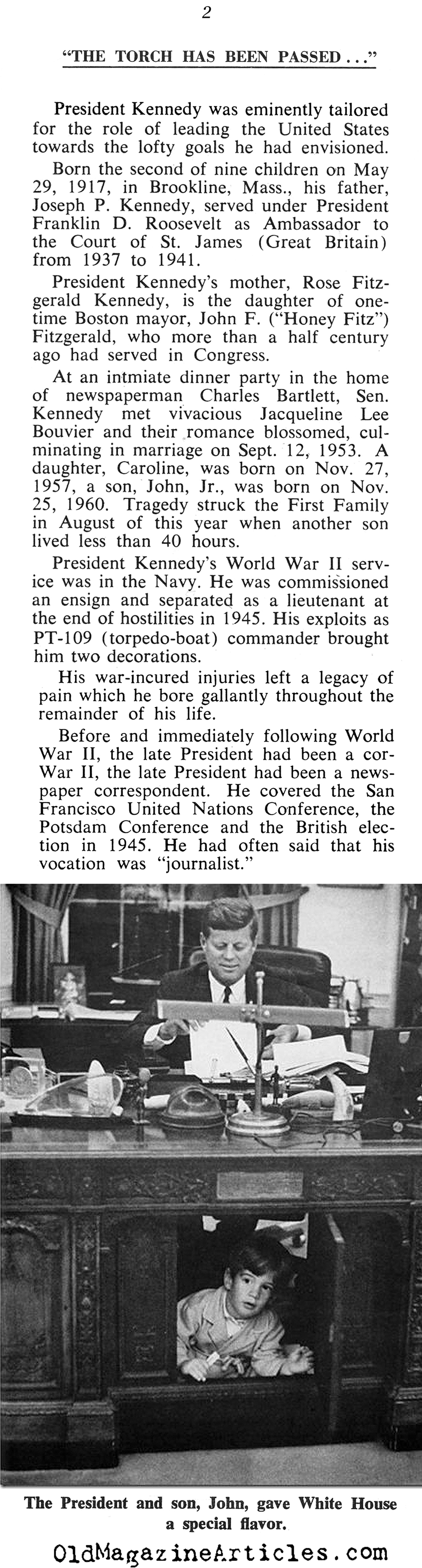 ''The Torch is Passed'' (The Washington World, 1963)