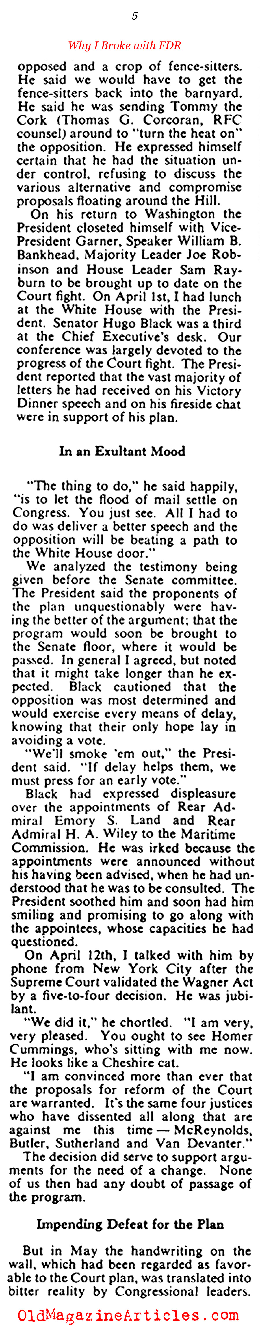 FDR, Congress and the Plan to Pack the Supreme Court (Collier's Magazine, 1947)