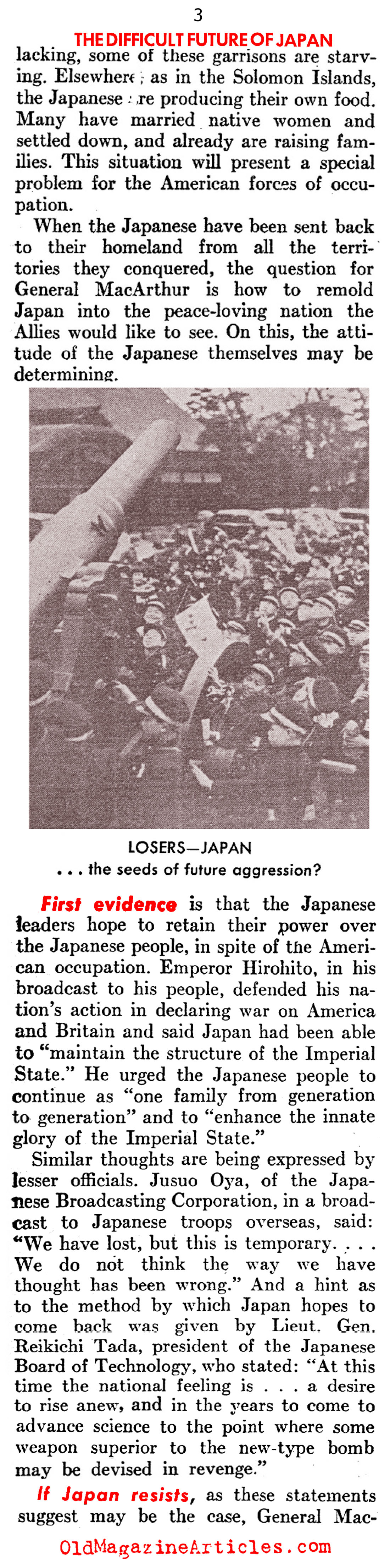 Japan Has Been Beaten. Now What? (United States News, 1945)