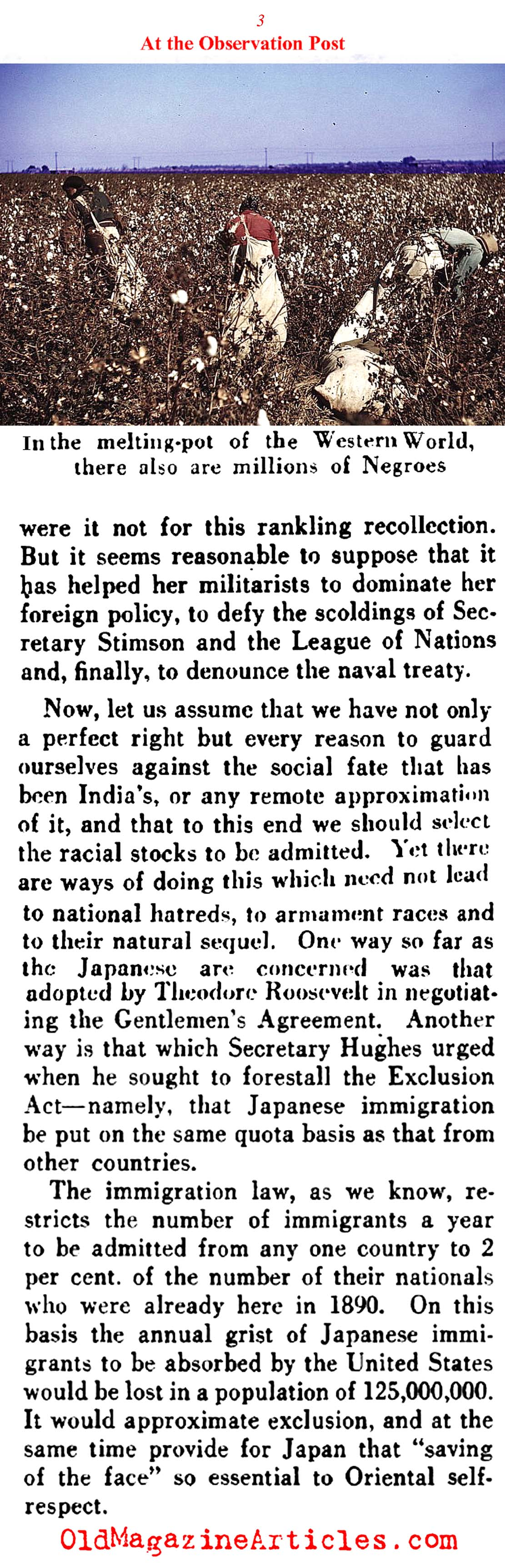 A Call to Repeal the Japanese Exclusion Act (Literary Digest, 1935)