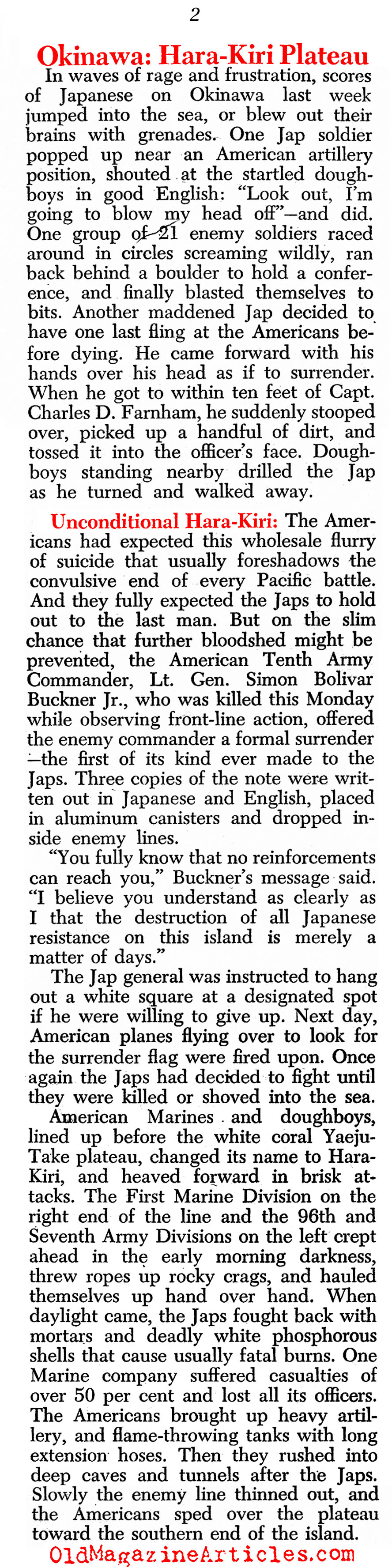Their Kamikaze Defense (Newsweek Magazine, 1945)