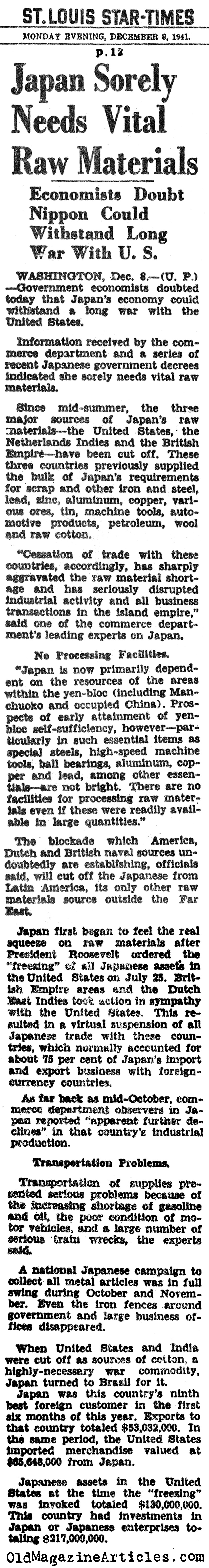 Japan Could Not Afford to Go to War (St. Louis Star-Times, 1941)