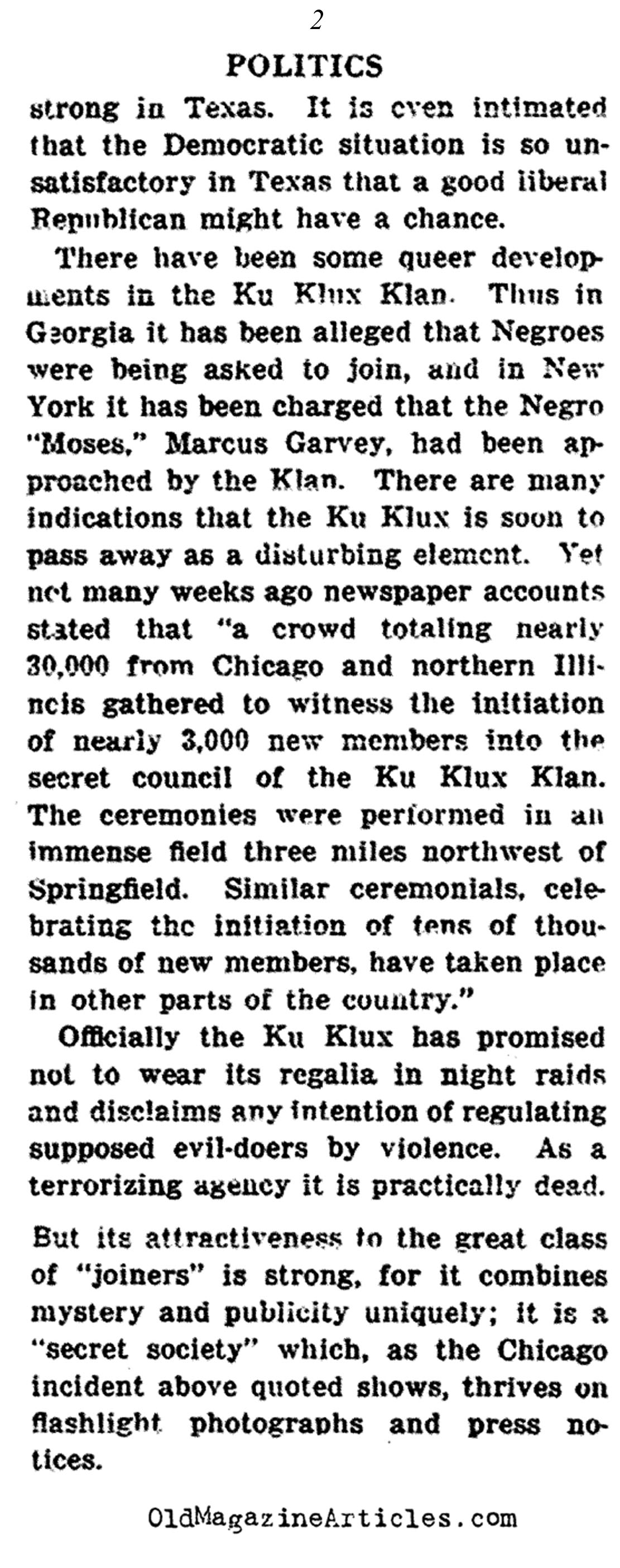 Weird Rumors About the Klan...  (The Outlook, 1922)