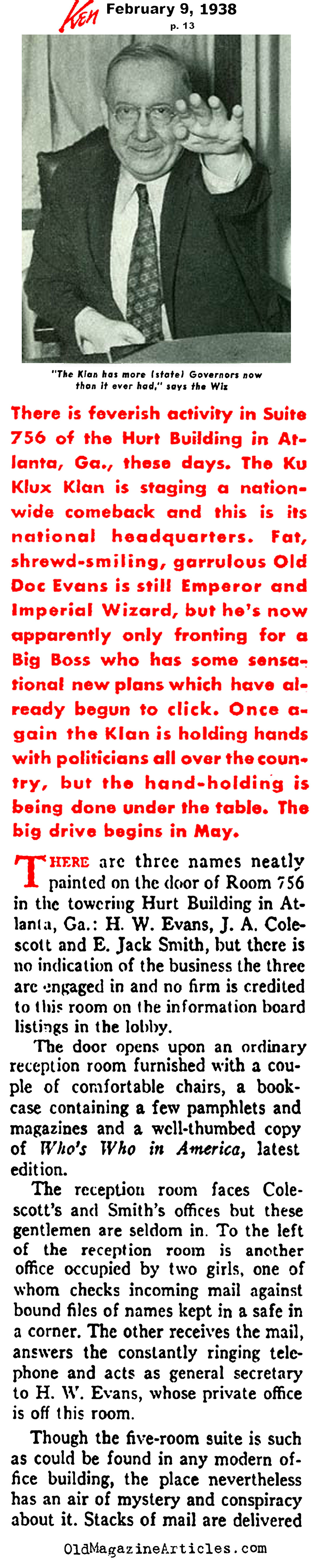 The Klan Gets Active  (Ken Magazine, 1938)