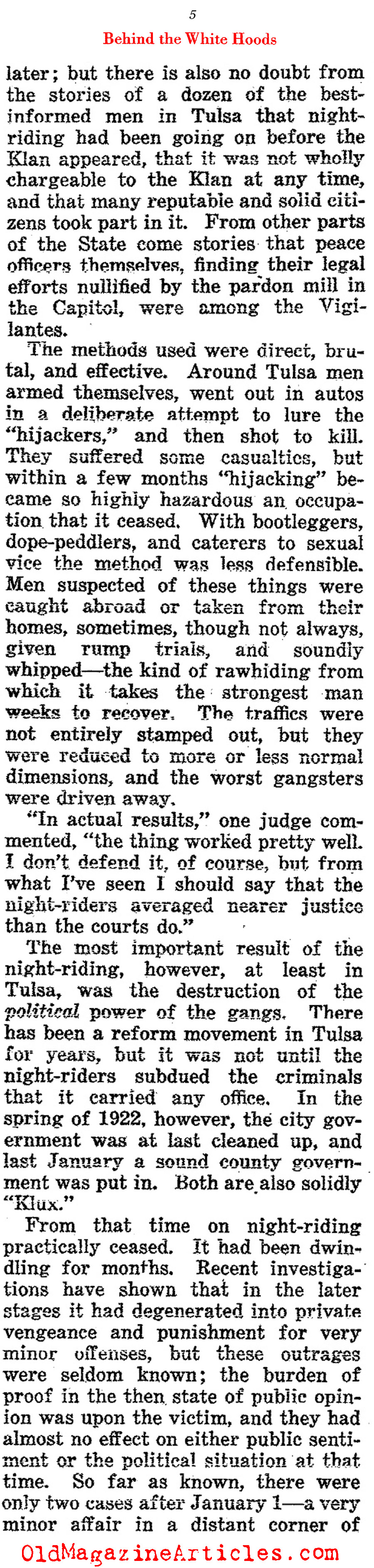 The KKK in Oklahoma  (The Outlook, 1922)