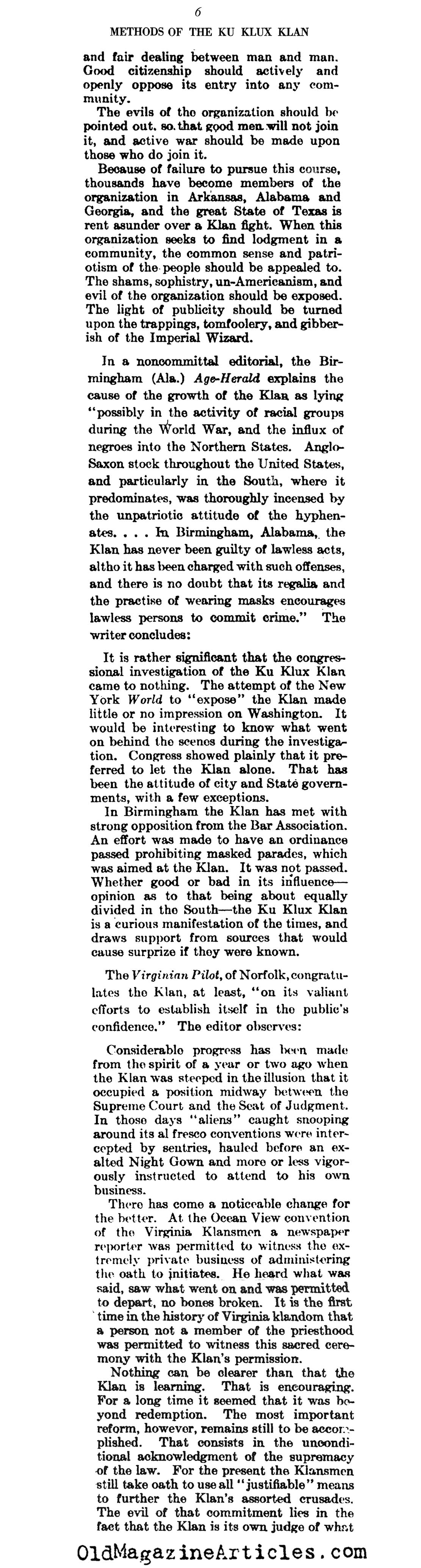 Klan Methods and Customs (Literary Digest, 1922)