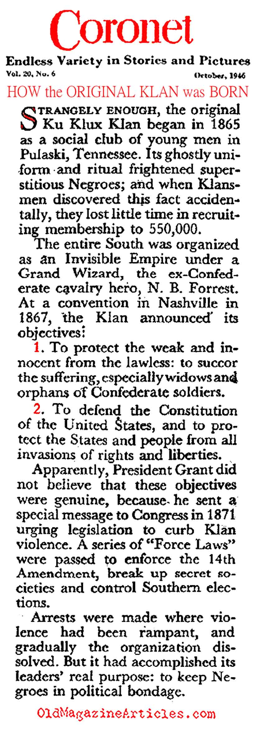 The Birth of the KKK (Coronet Magazine, 1946)